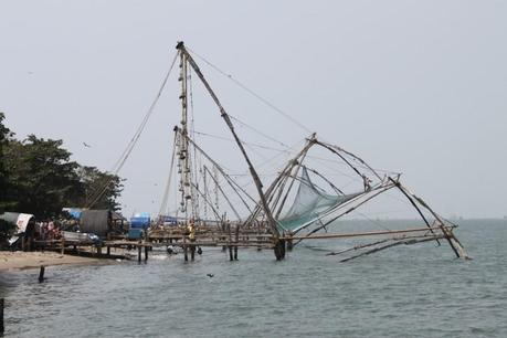 Chinese Fishing nets off the Fort Kochi coast in India on Feb. 8. (Venus Upadhayaya/The Epoch Times)