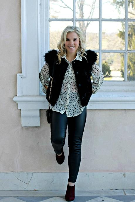 Feeling the Faux Fur Vest and Animal Print Blouse this Winter Day in Baltimore