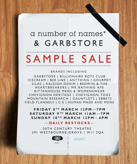a number of names* & Garbstore London Sample Sale