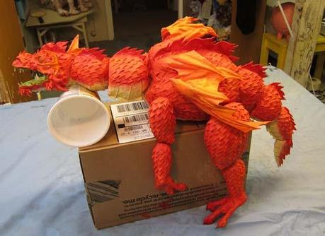 Paper Mache Dragon Marionette- Finished