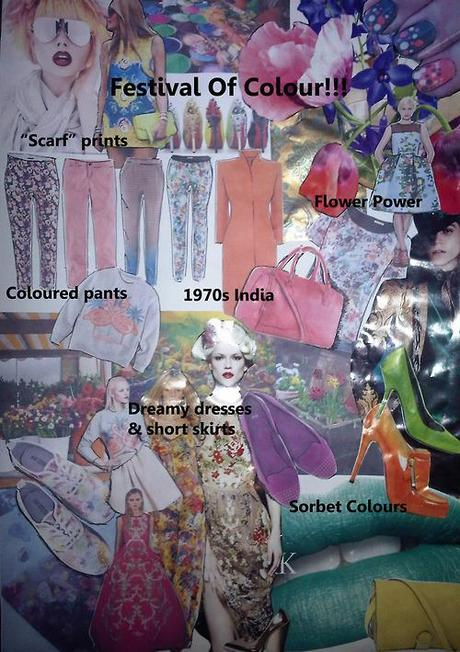 "Festival Of Colour! Trend board Spring 2013. A bright, colour filled time of year with Mardi Gras, Easter and of course Spring; flowering all around us! This hot trend is in direct contrast to the cooler ""Life Is Never Quite Black & White"" version, though continues on the theme of Print Print Print! Mixing and matching prints and textures or simply adding a touch of those sorbet colours, remember to keep the silhouette light and feminine. Flats are an integral part of this trend, keeping it grounded and mature, with printed trainers & bright ballerina pumps or a little heel  for evening. Think about the heat of India in the mist of its annual colour festival where the population throw coloured powders at each other and the streets are lined with every shade of plant and flower imaginable! Or try the retro styles of 1950s America & 60s London - thats what this trend is, a celebration of life and of the happiness that the spring sunshine brings to us after a cold and bleak winter.  xoxo LLM"