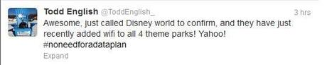 Todd confirms Disney has added wifi in all parks