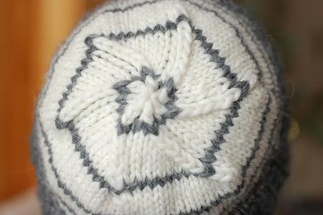 Grey and White Knit Hat Decrease