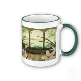 Tropical Paradise Mug in Hunter Green mug