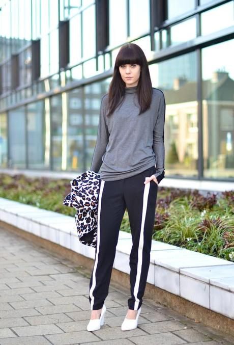 outfit white stripe track pants asos turtleneck