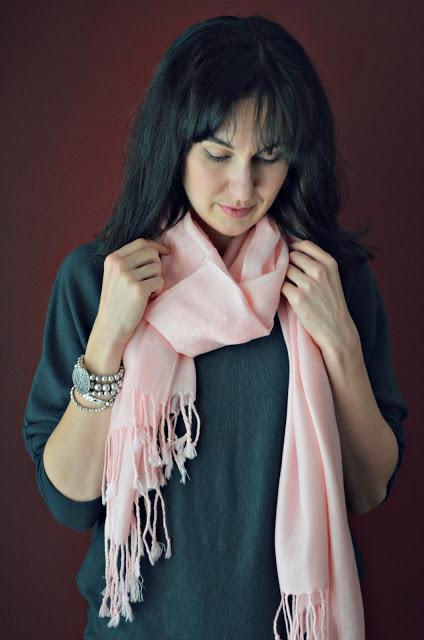 pink scarf and grey