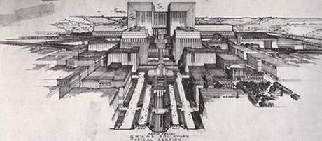 Lloyd Wright Civic Center Plan 1925