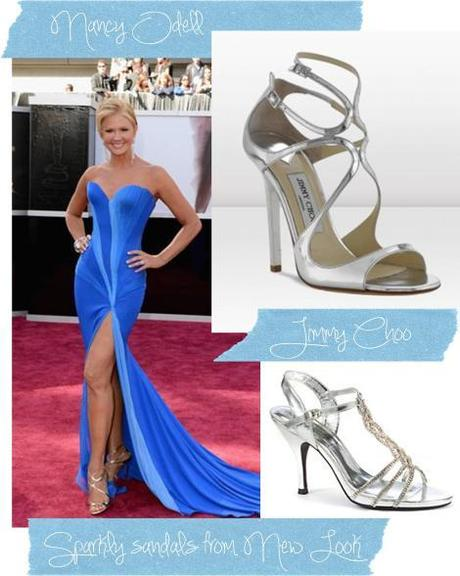oscars 2013 nancy odell red carpet fashion footwear trend silver shoes jimmy choo new look