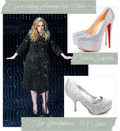 oscars 2013 red carpet fashion footwear trend adele silver platform shoes from louboutin mr shoes