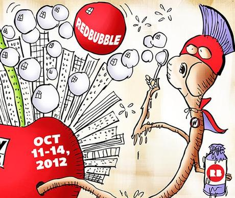detail image for Poster design for RedBubble contest for New York Comic Con comics and pop culture convention masked worm superhero emerging from apple representing Big Apple and blowing soap bubbles