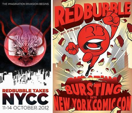 third prize and most popular winners in RedBubble poster design contest for 2012 New York Comic Con comics and pop culture convention
