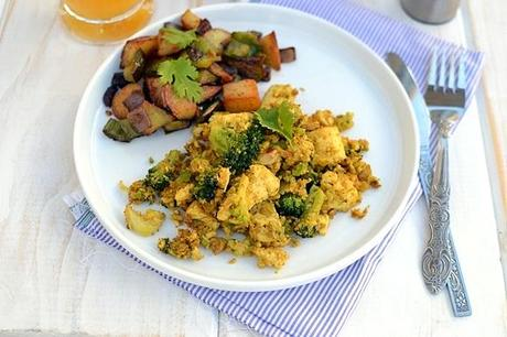 Vegan Breakfast - Tofu Broccoli Scramble & Home Fries