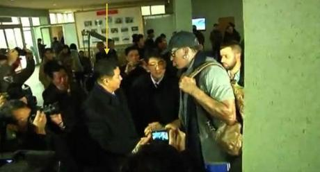 Dennis Rodman (R) shakes hands with Vice Minister of Physical Culture and Sports and Vice Chairman of the DPRK Olympic Committee Son Kwang Ho (arrow) (Photo: KCTV screengrab)
