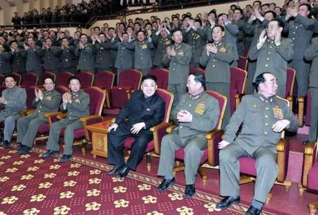 Kim Jong Un (1st row, 3rd R) attends a performance by the State Merited Chorus at the People's Theater in Pyongyang.  Also seen in the 1st row are: Kim Kyong Ok (L), VMar Kim Yong Chun (2nd L) VMar Choe Ryong Hae (3rd L) Gen. Hyon Yong Chol (2nd R) and Gen. Kim Kyok Sik (R) (Photo: Rodong Sinmun)