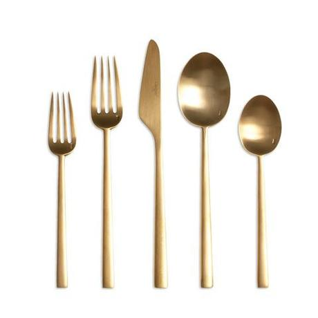 warm-toned modern metal flatware