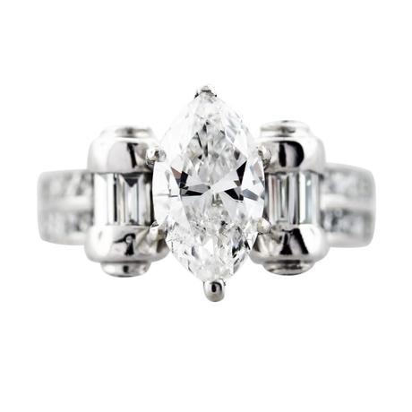 1.62 Carat Marquise Cut Diamond Engagement Ring 18K White Gold