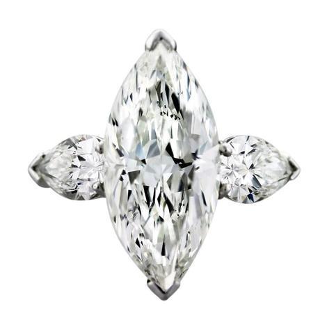 Graff 4 Carat Marquise and Pear Shape Diamond Platinum Engagement Ring, graff engagement ring, pre owned graff diamond