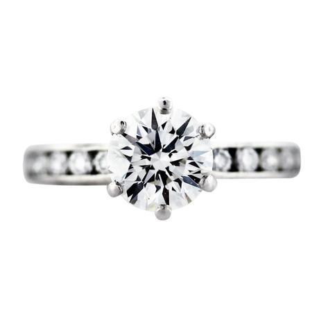 Tiffany and Co Platinum Round Brilliant Engagement Ring, tiffany engagement rings estate sale