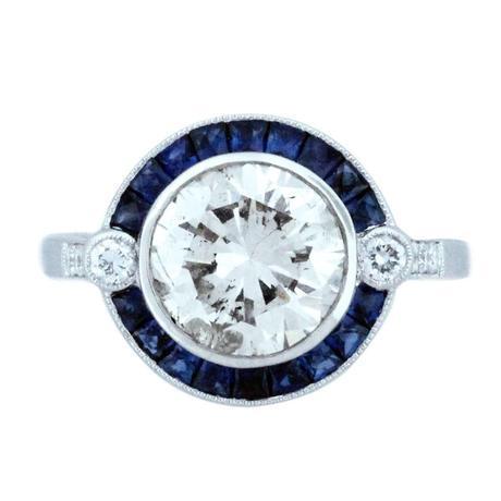 round art deco style diamond and sapphire engagement ring, art deco engagement ring