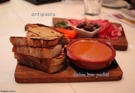 Chicken liver parfait & antipasto