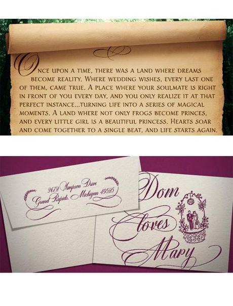Wedding Invitation With Dom Loves Mary Calligraphy Font