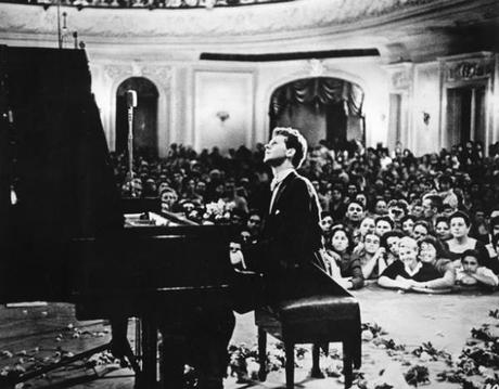 Van Cliburn performs in Moscow in 1958 (Courtesy of Van Cliburn Foundation)