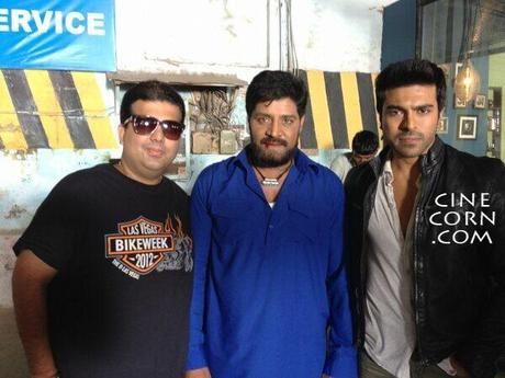 ram charan sri hari zanjeer sets pics Ram Charan and Srihari On The Sets Of Zanjeer   Photo