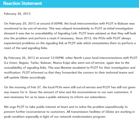 Globe reaction statement