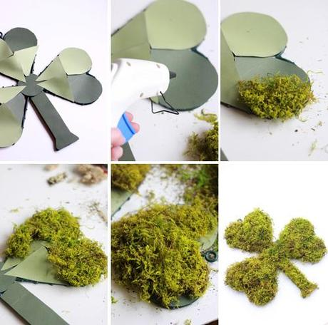 Make a moss shamrock for your door