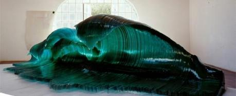 Glass and wood ocean waves by Mario Ceroli