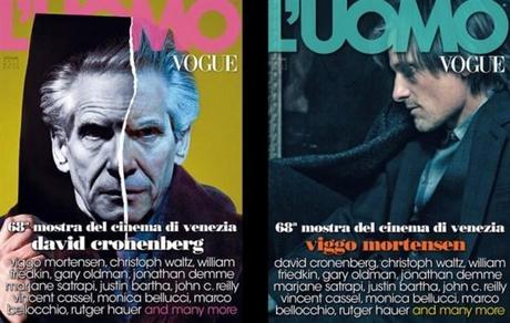 David Cronenberg and Viggo Mortensen covers the September issue of L'Uomo Vogue
