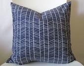 18 inch throw pillow cover, Herringbone navy blue and white. Menswear inspired pattern, modern print. For indoor use. - bisousrose