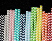 50 Assorted Chevron Zig Zag Paper Straws and PDF Printable Party Flags - CupcakeSocial