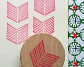 geometric hand carved stamp - handmade chevron rubber stamp - mounted - no2 - talktothesun