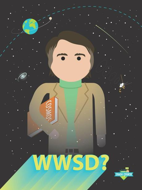 edwardspoonhands:  dftbarecords:  What would Sagan do? Check out this new poster available from CrashCourse!  Guys…Carl Sagan is the best…  For mywildloves :)