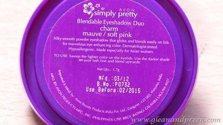 Avon Simply Pretty Eye Shadow Directions