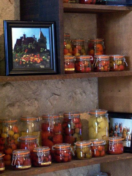 Jarred tomatoes sitting on a shelf at the Château de la Bourdaisière Castle in France