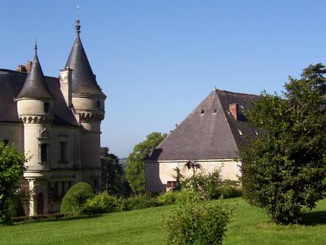 View of the castle turrets and rooftops at the Château de la Bourdaisière Castle in France