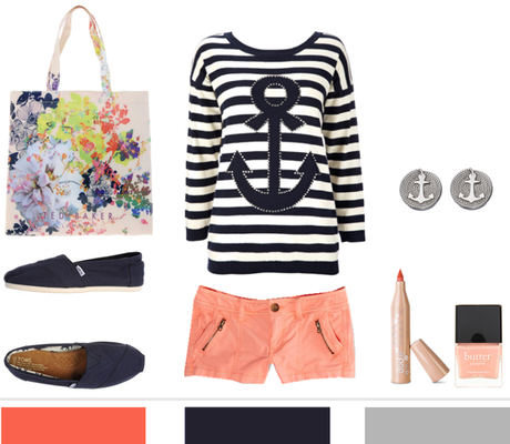 navy stripes + coral