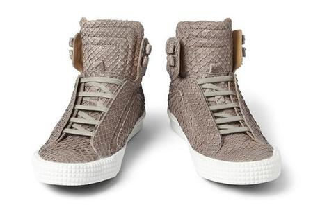 Jimmy Choo Albion Snakeskin-Effect Leather High Top Sneakers...