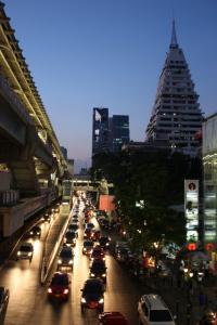 Night falls on Bangkok