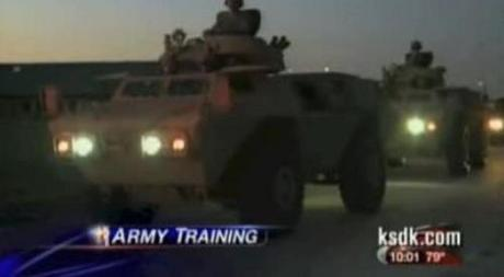 Military Police armored vehicles St. Louis