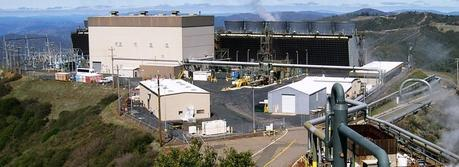 The Sonoma Calpine 3 geothermal power plant at The Geysers field in the Mayacamas Mountains of Somona County California, USA. Photographed looking northwest from the nearby helipad.