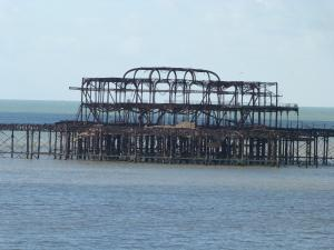Burnt skeleton of the old Brighton pier