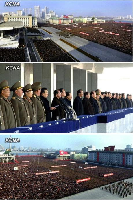 Views of an army-people solidarity rally in Kim Il Sung Square on 7 March 2013 (Photos: KCNA)