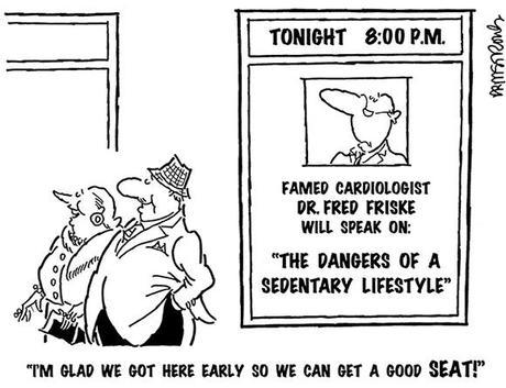 cartoon showing wealthy affluent older couple attending a lecture by cardiologist on dangers of sedentary they're glad they got there early to get good seat