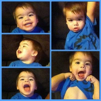 Photo: Lip-syncing to Girl on Fire (we sing Tracen on fire) he is  a little dramatic (: