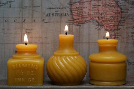 Ink Well Trio Beeswax Candles from Pollen Arts