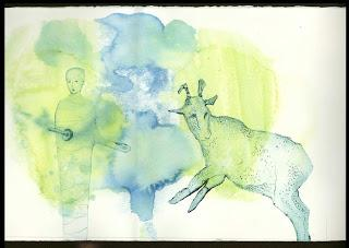 Gelatin monoprint with drypoint + Engraving on Foiled Card