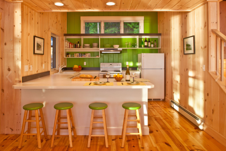 green walls and knotty pine